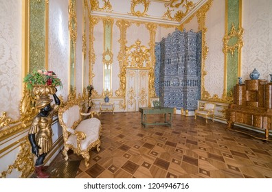 PUSHKIN, RUSSIA - AUGUST 17. 2007: Interior of the Catherine Palace located in Tsarskoye Selo (Pushkin), 25 km southeast of St. Petersburg, Russia. It was the summer residence of the Russian tsars.