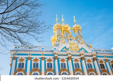 PUSHKIN, RUSSIA - JANUARY,26 2019: Winter Catherine palace architecture with blue sky Saint Petersburg famous rich royal historical building