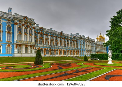 Pushkin, Russia - July 2, 2018: The sumptuous Catherine Palace in Tsarskoe Selo (Pushkin), St. Petersburg, Russia.