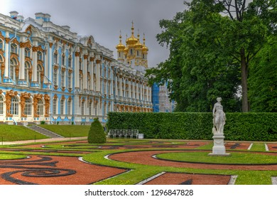 Pushkin, Russia - July 2, 2018: The sumptuous Catherine Palace in Tsarskoe Selo (Pushkin), St. Petersburg, Russia.