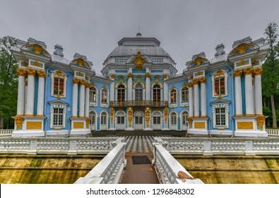 Pushkin, Russia - July 2, 2018: Hermitage Pavilion in Catherine Park in Tsarskoe Selo (Pushkin), St. Petersburg, Russia.