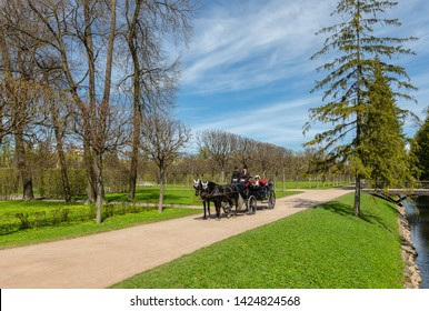 Pushkin, Russia - May 23, 2017: Carriage in the regular garden in front of Catherine Palace in the town of Pushkin, Russia.