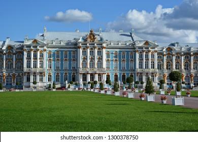 Pushkin, Russia - September 10 2018. Landmark of Saint Petersburg – façade of Catherine palace. Catherine garden, Tsarskoe selo, Pushkin, Russia