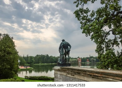 Pushkin, Russia - September 10 2018: The Samson statue seen from behind with the pond and lake in view in the Gardens of Catherine Palace in Pushkin, Russia