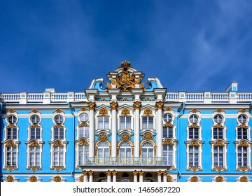 Pushkin (Saint Petersburg), Russia - 04 09 2017: the light blue facade of Catherine Palace in Tsarskoye Selo (Pushkin) under a blue sky with plenty of space for text and copy
