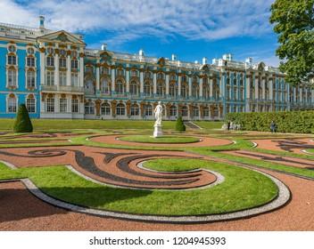 Pushkin. Saint Petersburg. Russia - August 18, 2018: View of Catherine palace in Tsarskoye Selo in summer.