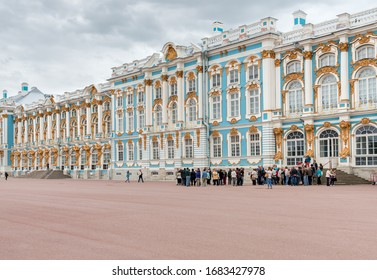 Pushkin, Saint Petersburg, Russia - May 19, 2015: People visiting the Catherines Palace of Tsarskoye selo in Pushkin, Russia