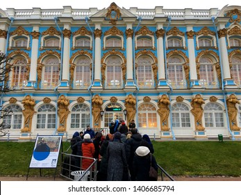 PUSHKIN, ST. PETERSBURG, RUSSIA - NOVEMBER 7 : People travel to Catherine palace the center of the park and the main landmark of Pushkin on November 7, 2018 in Pushkin, St.Petersberg, Russia.
