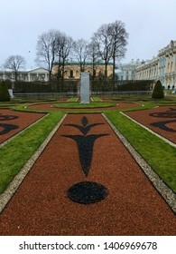 PUSHKIN, ST. PETERSBURG, RUSSIA - NOVEMBER 7 : The garden in Catherine palace the center of the park and the main landmark of Pushkin on November 7, 2018 in Pushkin, St.Petersberg, Russia.
