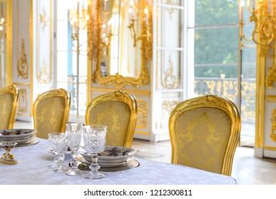 Pushkin (Tsarskoe selo), Saint Petersburg, Russia - August, 2018: interior of Pavilion Hermitage. Banqueting hall