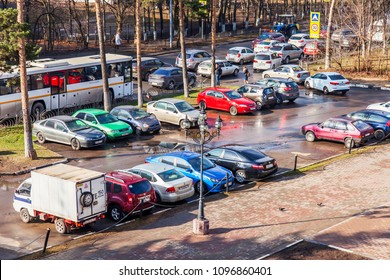 Pushkino, Russia, on April, 26 2018. Cars stand on a parking in the inhabited massif