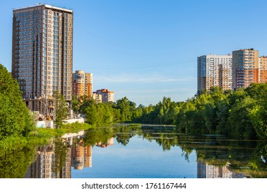Pushkino, Russia, on june, 22, 2020. View of the city in the sunny summer afternoon, New houses near river Serebryanka