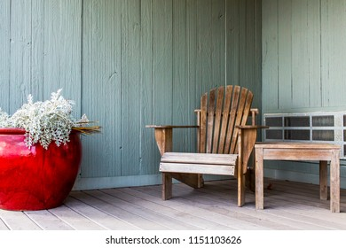 Pushkino, Russia, on September 30, 2017. Old wooden furniture on a verandah of an inhabited country house