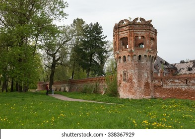 PUSHKIN,SAINT-PETERSBURG,RUSSIA-MAY 20, 2015:Wall and tower of Feodorovsky settlement in Tsarskoye Selo, Saint-Petersburg, Russia.