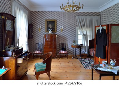 PUSHKINSKIYE GORY, RUSSIA - MAY 18, 2016: interior and the interior of the House-Museum of Pyotr Abramovich and Benjamin Petrovich Hannibal of the state Museum-reserve of A. S. Pushkin - Petrovskoe