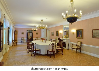 PUSHKINSKIYE GORY, RUSSIA - MAY 18, 2016: interior of the House-Museum of Pyotr Abramovich and Benjamin Petrovich Hannibal of the state Museum-reserve of A. S. Pushkin - Petrovskoe