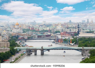 Pushkinsky and Krymsky bridges at day in Moscow, Russia. Panorama of city
