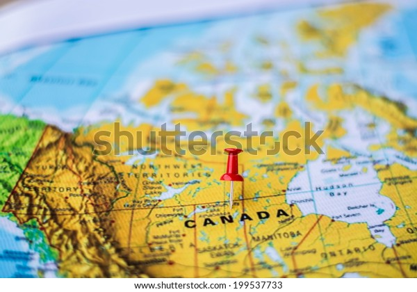 pushpin marking the location, Canada