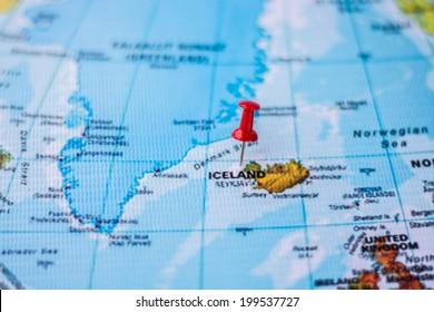 pushpin marking the location, Iceland