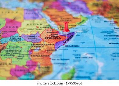 pushpin marking the location,Somalia