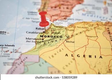 Pushpin marking the Marocco map