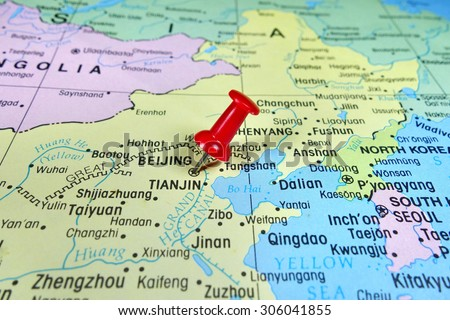 Pushpin Marking On Beijing China Map Stock Photo Edit Now