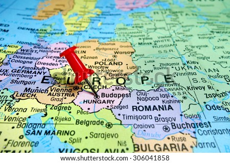 Pushpin Marking On Budapest Hungary Map Stock Photo Edit Now