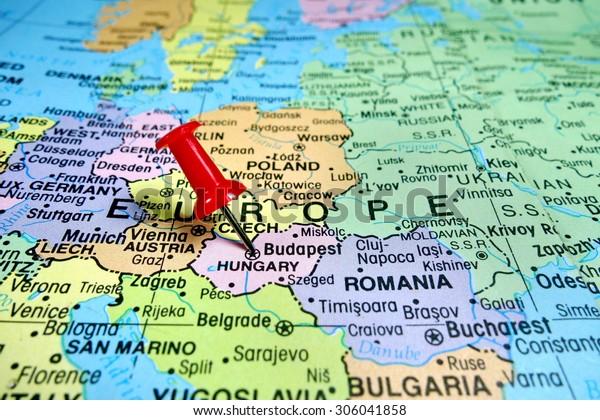 Budapest Hungary Map Pushpin Marking On Budapest Hungary Map Stock Photo (Edit Now