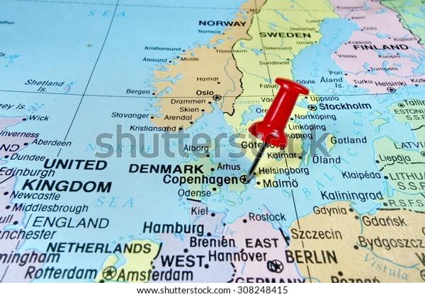 Pushpin Marking On Copenhagen Denmark Map Stock Photo (Edit ...