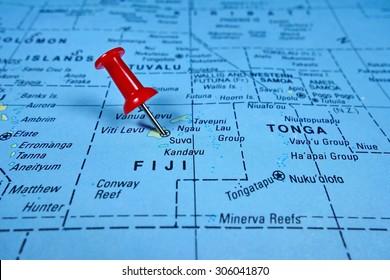Pushpin marking on Fiji map