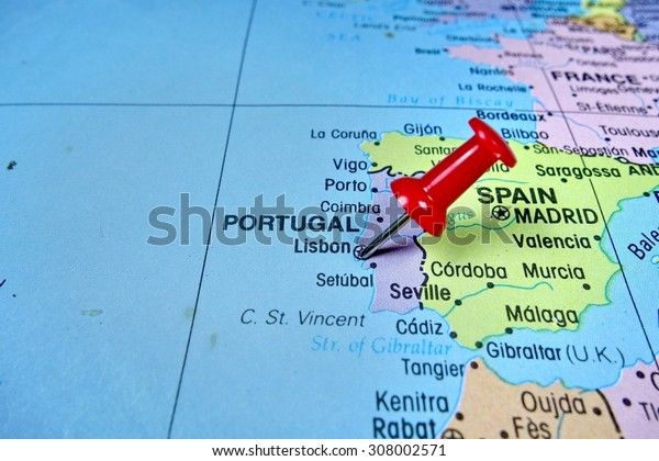Pushpin marking on  Lisbon, Portugal  map