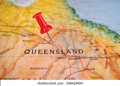 pushpin marking on map of Queensland, Australia