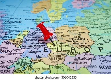 Pushpin marking on Prague, Czech Republic map