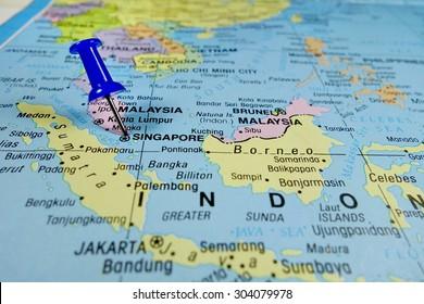 pushpin marking on Singapore map