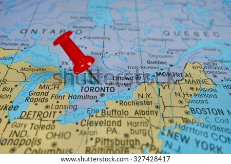 Pushpin Marking On Toronto Canada Map Stock Photo (Edit Now