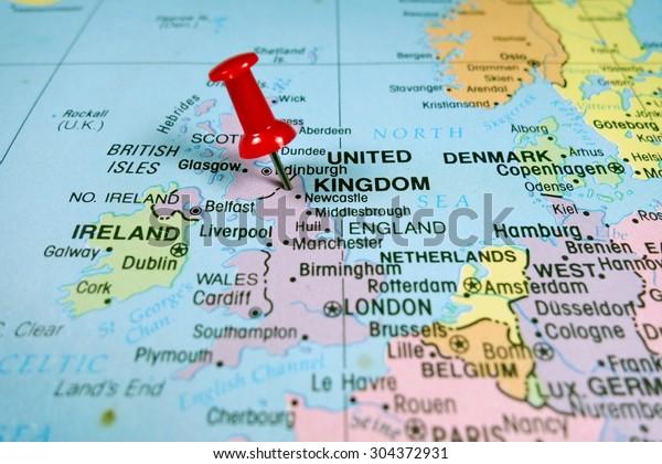 Pushpin Marking On United Kingdom Map Stockfoto (Jetzt ...