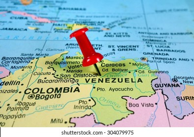 pushpin marking on  Venezuela map