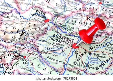 pushpin on the map - Budapest