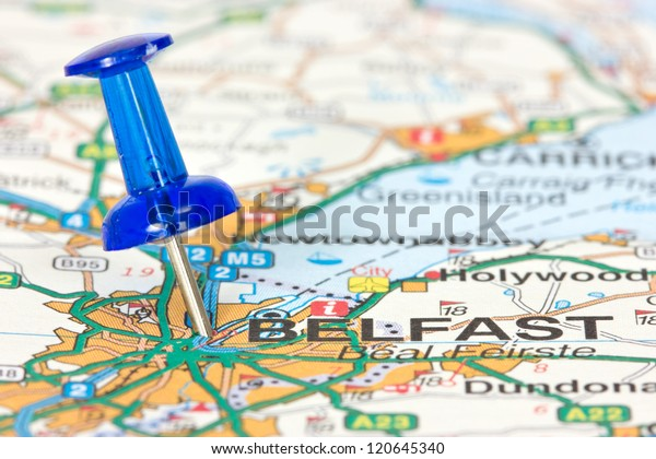 Pushpin pointing  location of Belfast on the map