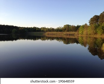 Puskus Lake and dam in Holly Springs National Forest, Mississippi