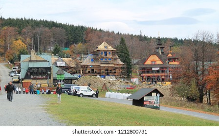 PUSTEVNY, CZECH REPUBLIC - OCTOBER 16: reconstruction of a historical wooden lodge destroyed by fire on Pustevny, Beskydy mountains, Czech Republic, October 16, 2018
