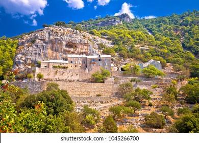 Pustinja Blaca hermitage on the rock, island of Brac, Dalmatia, Croatia