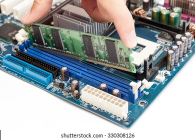 Put computer memory (RAM) in the slot of motherboard