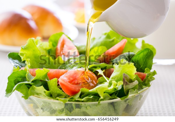Put the dressing in the vegetable salad