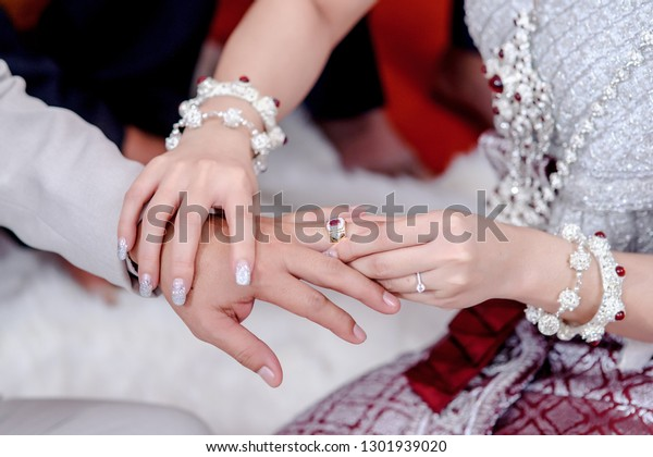 Put Wedding Rings On Ring Finger Stock Photo Edit Now