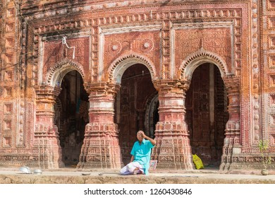 PUTHIA, BANGLADESH - NOVEMBER 10, 2016: Local man at Govinda temple in Puthia village, Bangladesh