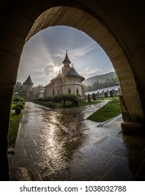 The Putna Monastery, Romania, seen after the rain.