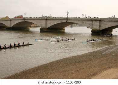 Putney Bridge, close to the finish line of the annual boat race in the Thames river.