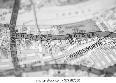 Putney Bridge. London, UK map.