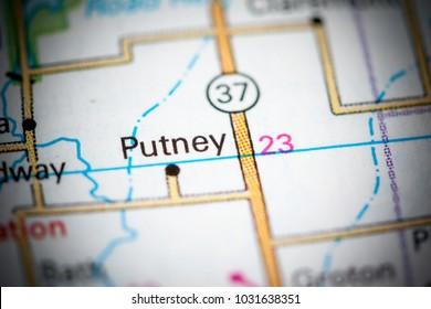Putney. South Dakota. USA on a map.